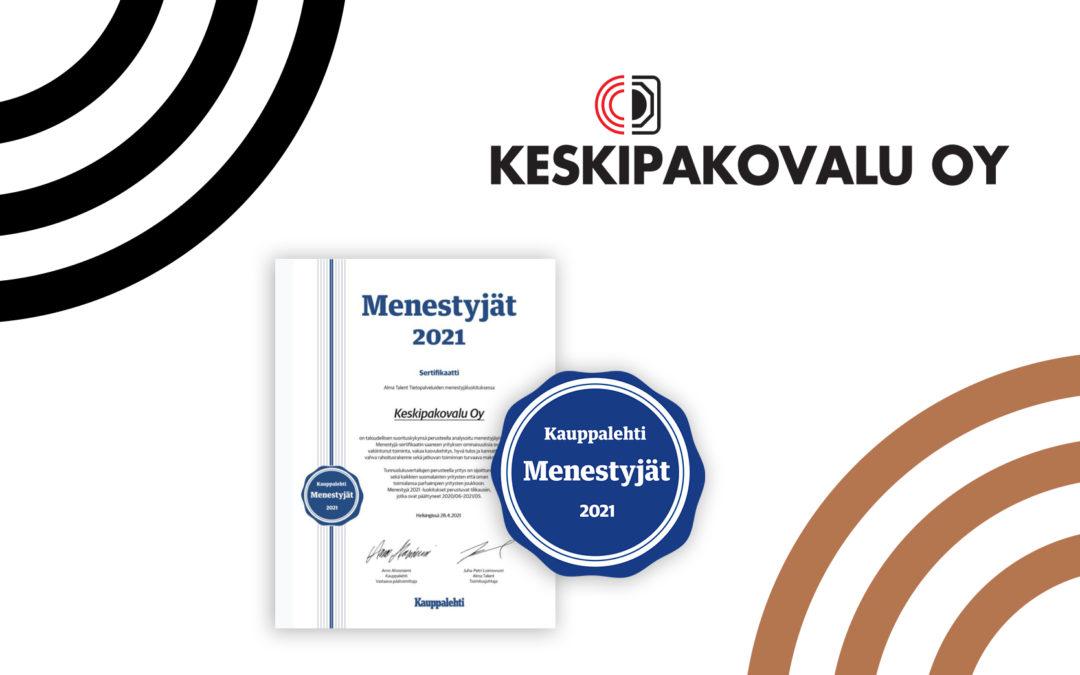 Kauppalehden menestyjäsertifikaatti 2021 Keskipakovalu Oy:lle